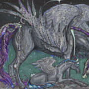 Pegasus Mare And Foal Art Print