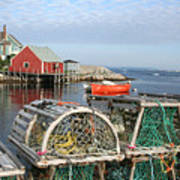 Peggys Cove And Lobster Traps Art Print