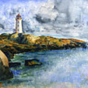 Peggy's Cove Lighthouse Landscape Art Print