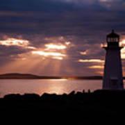 Peggy's Cove Lighthouse Silhouette Art Print