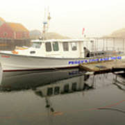 Peggy's Cove Tours Boat In The Rain Art Print