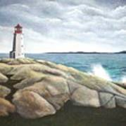 Peggys Light Nova Scotia Art Print