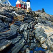 Pemaquid Point Lighthouse Reflection - Seascape Landscape Rocky Coast Maine Art Print