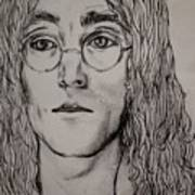 Pencil Portrait Of John Lennon  Art Print