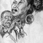 pencil study for Satchmo Lady Day and Nina Simone Art Print