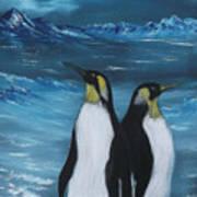 Penguin Family Expectant Again Art Print by Cynthia Adams