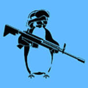 Penguin Soldier Art Print by Pixel Chimp