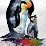 Penguin With Baby Art Print
