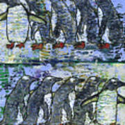 Penguins On Parade Art Print