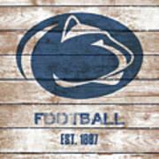 Penn State // Football // Distressed Wood Art Print