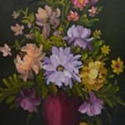 Peonies In A Red Vase Art Print