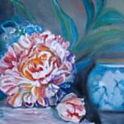 Peony And Chinese Vase Art Print