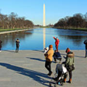 People At The Reflecting Pool Art Print