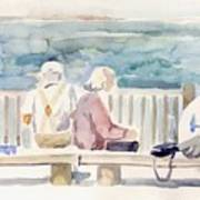 People On Benches Art Print