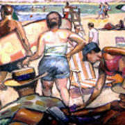 People On The Beach Art Print by Stan Esson