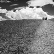 People On The Hill Bw Art Print