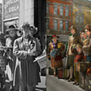 People - People Waiting For The Bus - 1943 - Side By Side Art Print