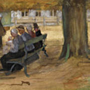 People Sitting On A Bench In Bezuidenhout. The Hague Art Print