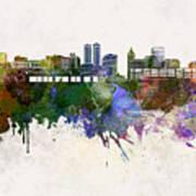 Peoria Skyline In Watercolor Background Art Print