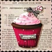Peppermint Stick Christmas Cupcake Art Print