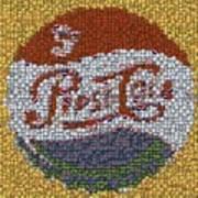 Pepsi Bottle Cap Mosaic Art Print