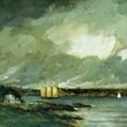 Pequot Light House Connecticut Coast 1902 Art Print