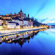 Perfect Sodermalm And Mariaberget Blue Hour Reflection Art Print