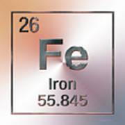 Periodic Table Of Elements - Iron Fe Art Print