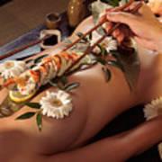 Person Eating Nyotaimori Body Sushi Art Print by Oleksiy Maksymenko