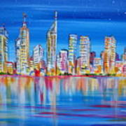 Perth Skyscrapers Skyline On The Swan River Art Print
