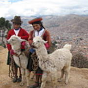 Peruvian Girls With Llamas Art Print