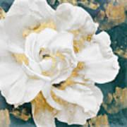 Petals Impasto White And Gold Art Print