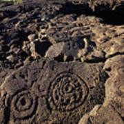 Petroglyphs In Kalahuipuas Historic Art Print