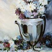 Pewter Coffee Pot And Daisies Art Print