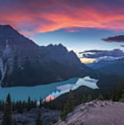 Peyto Lake At Dusk Art Print