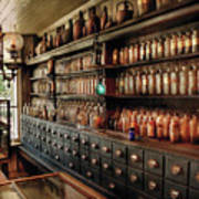 Pharmacy - So Many Drawers And Bottles Art Print