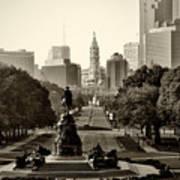 Philadelphia Benjamin Franklin Parkway In Sepia Art Print