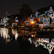 Philadelphia Boathouse Row At Night Art Print