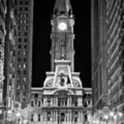 Philadelphia City Hall At Night Art Print by Val Black Russian Tourchin