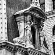 Philadelphia City Hall Window In Black And White Art Print