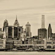 Philadelphia From The Waterfront In Sepia Art Print