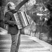 Philadelphia Music Man Bnw Art Print