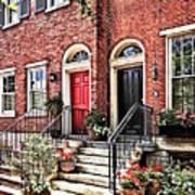 Philadelphia Pa - Townhouse With Red Geraniums Art Print