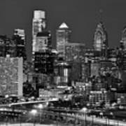 Philadelphia Skyline At Night Black And White Bw  Art Print