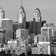 Philadelphia Skyline Black And White Bw Wide Pano Art Print