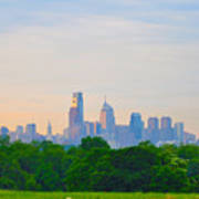 Philadelphia Skyline From West Lawn Of Fairmount Park Art Print by Bill Cannon
