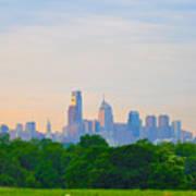Philadelphia Skyline From West Lawn Of Fairmount Park Print by Bill Cannon