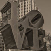 Philly Esque  - Love Statue In Sepia Art Print