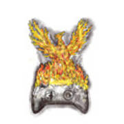 Phoenix Rising Over Burning Game Controller Tattoo Art Print