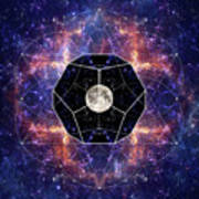 Photo Of The Moon And Sacred Geometry Art Print